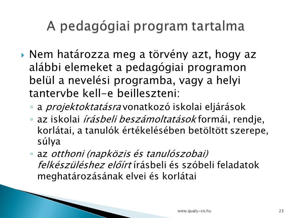 A pedagógiai program tartalma