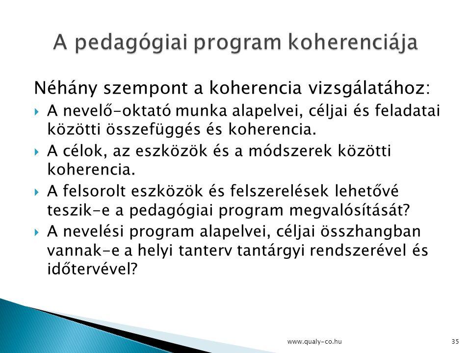 A pedagógiai program koherenciája