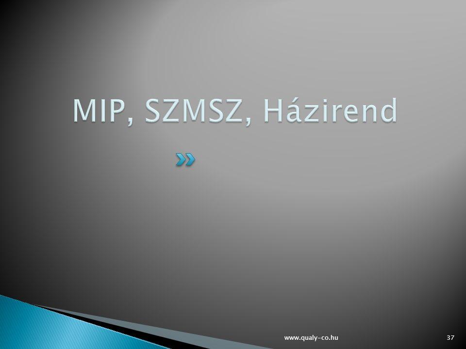 MIP, SZMSZ, Házirend www.qualy-co.hu