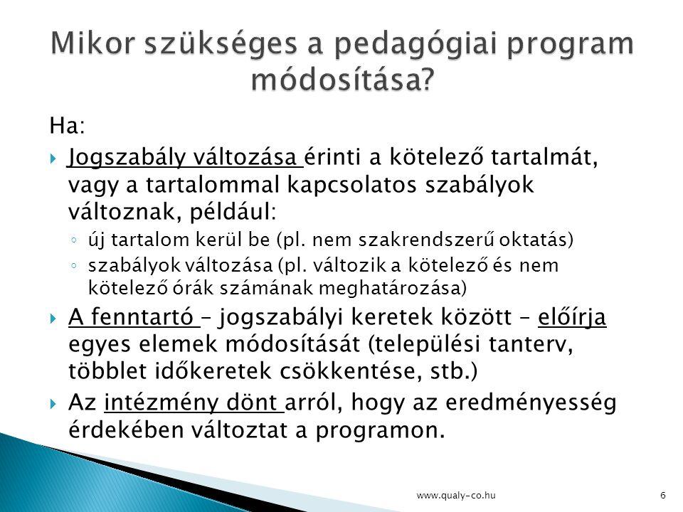 Mikor szükséges a pedagógiai program módosítása
