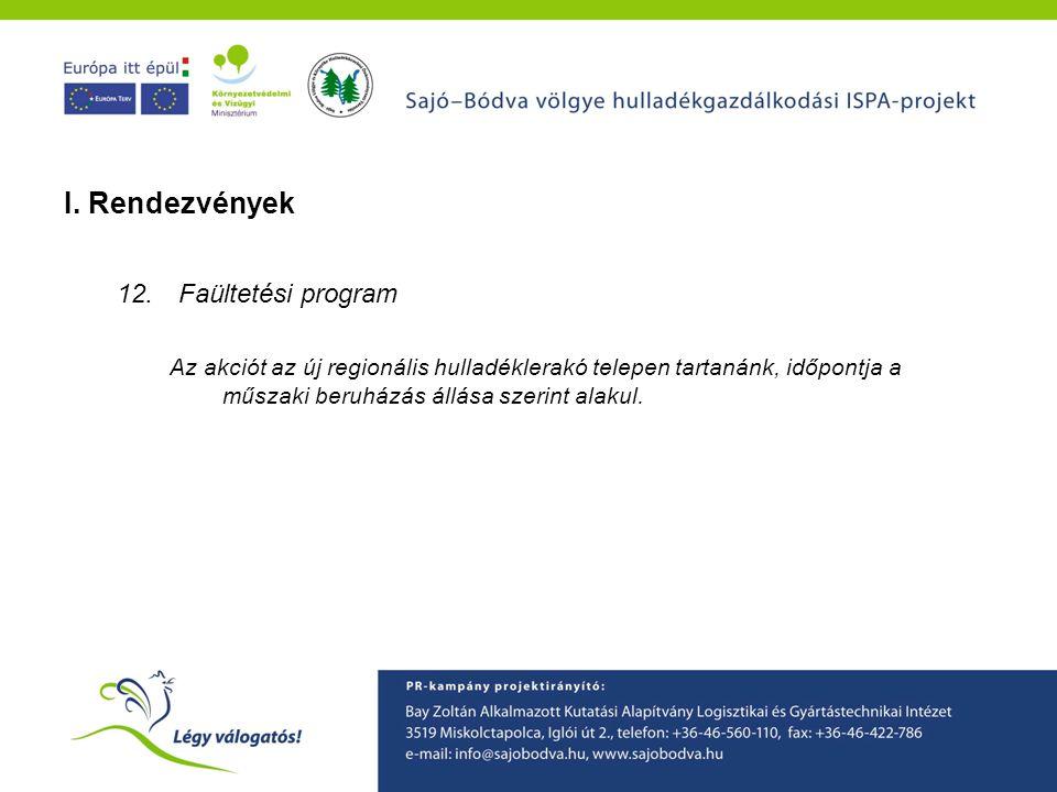 I. Rendezvények Faültetési program