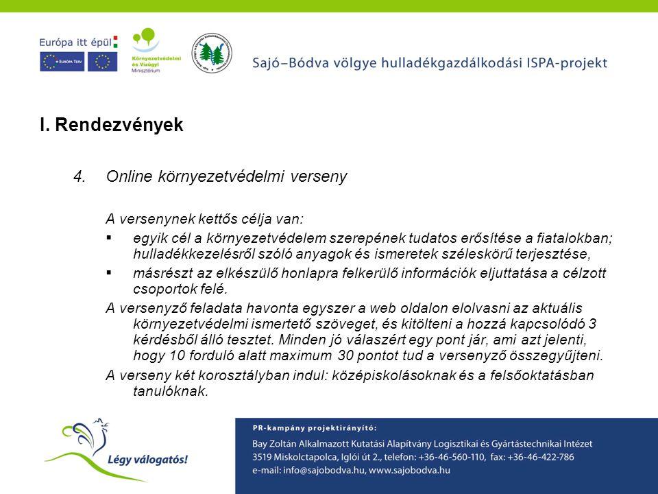 I. Rendezvények Online környezetvédelmi verseny