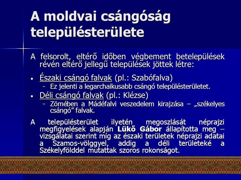 A moldvai csángóság településterülete
