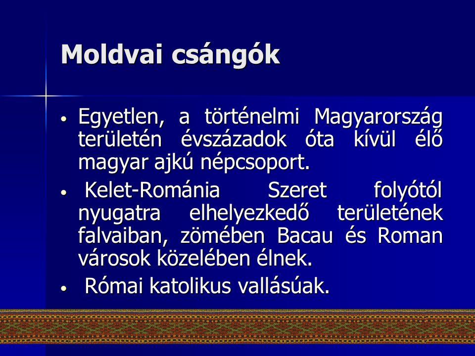 Moldvai csángók Egyetlen, a történelmi Magyarország területén évszázadok óta kívül élő magyar ajkú népcsoport.