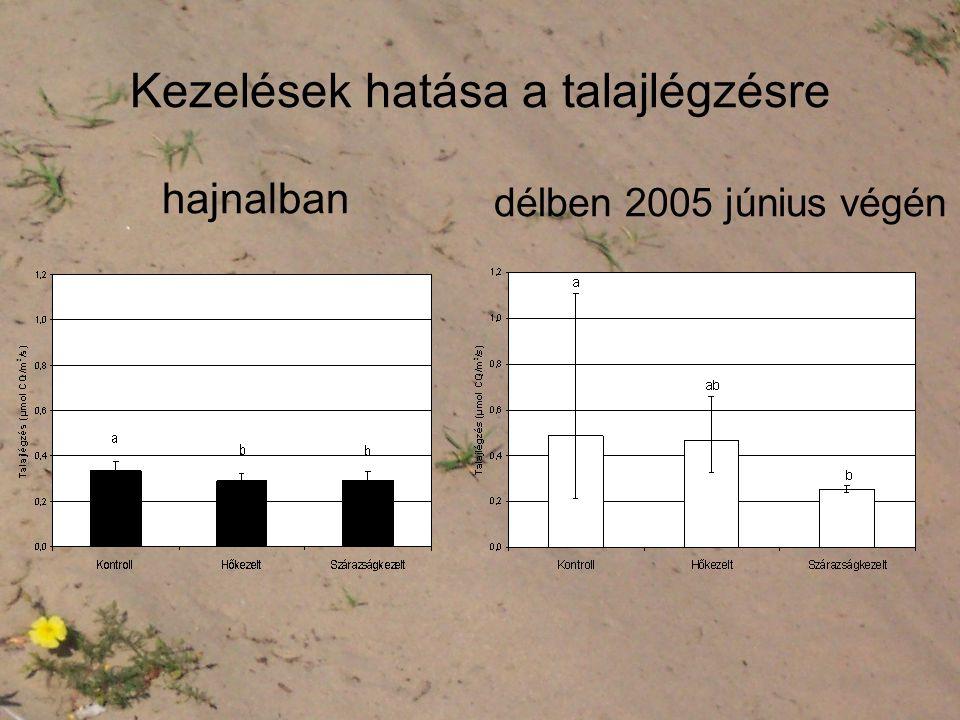 Kezelések hatása a talajlégzésre