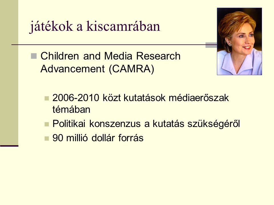 játékok a kiscamrában Children and Media Research Advancement (CAMRA)