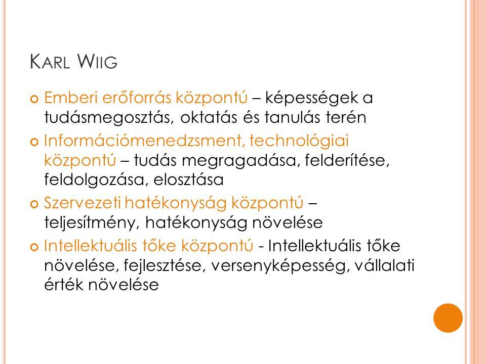 Karl Wiig Emberi erőforrás központú – képességek a tudásmegosztás, oktatás és tanulás terén.