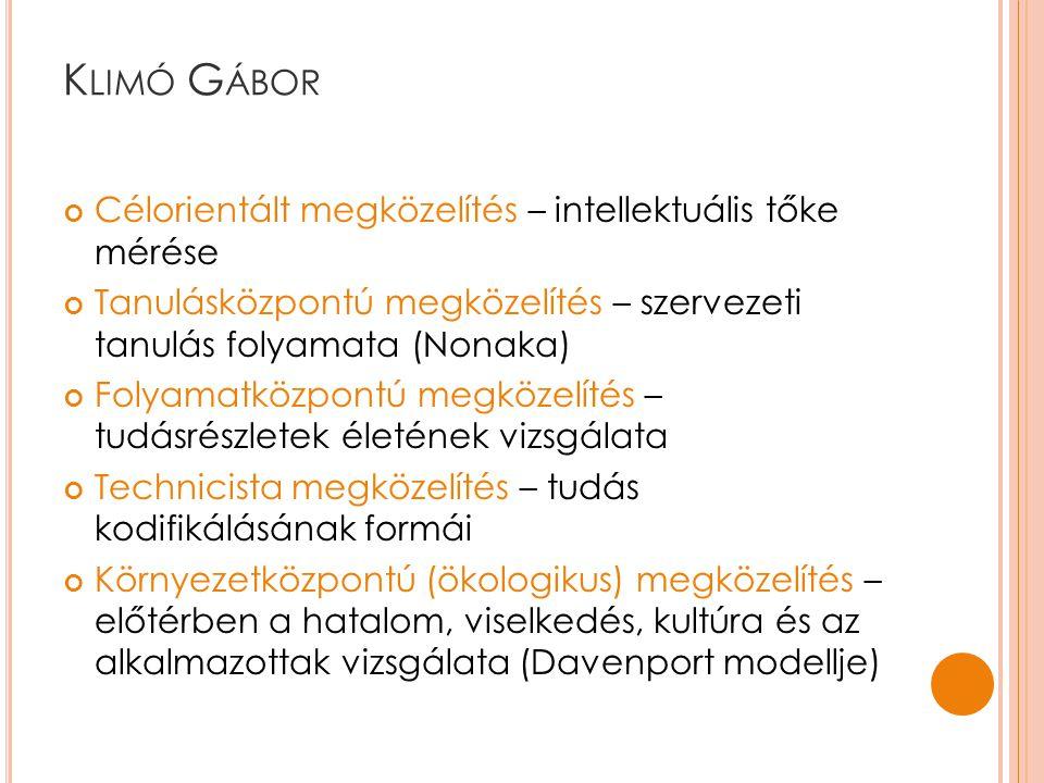 Klimó Gábor Célorientált megközelítés – intellektuális tőke mérése