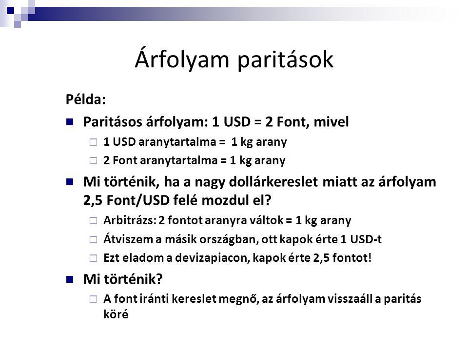Árfolyam paritások Példa: Paritásos árfolyam: 1 USD = 2 Font, mivel