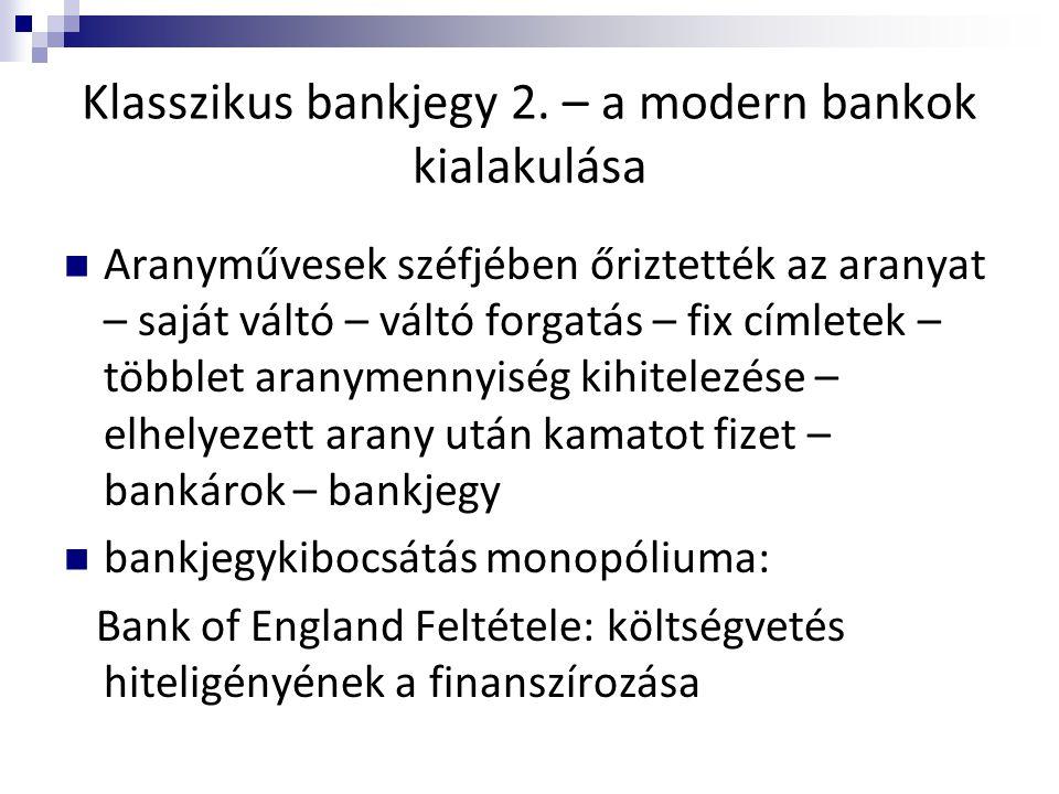 Klasszikus bankjegy 2. – a modern bankok kialakulása