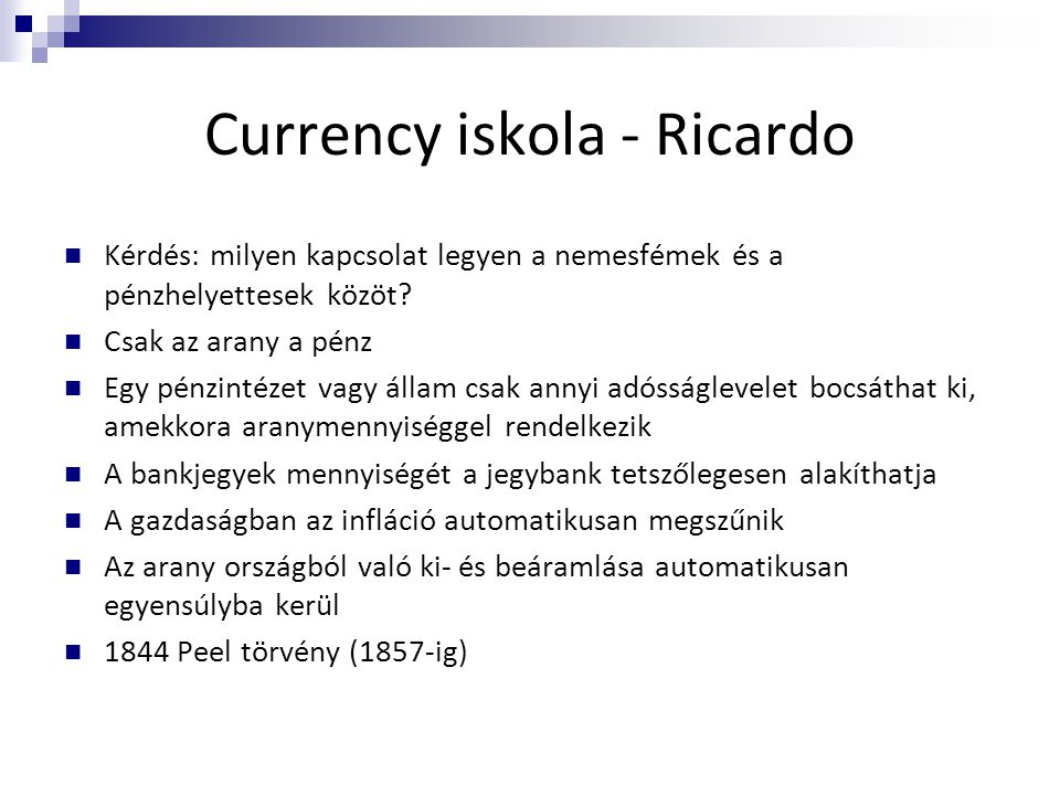 Currency iskola - Ricardo