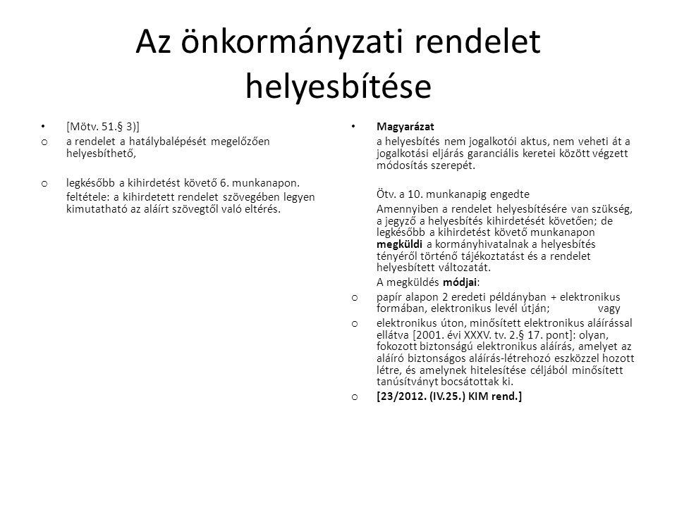 Az önkormányzati rendelet helyesbítése