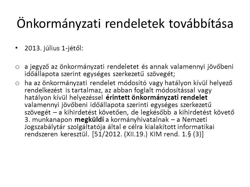Önkormányzati rendeletek továbbítása