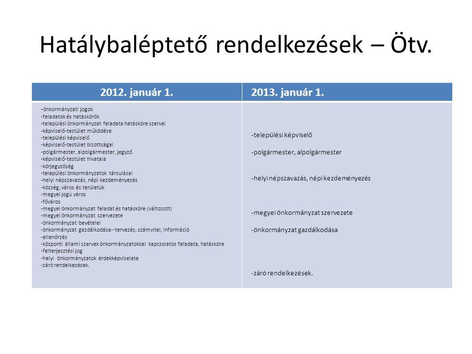 Hatálybaléptető rendelkezések – Ötv.