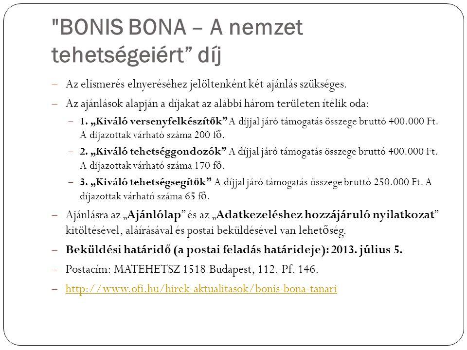 BONIS BONA – A nemzet tehetségeiért díj