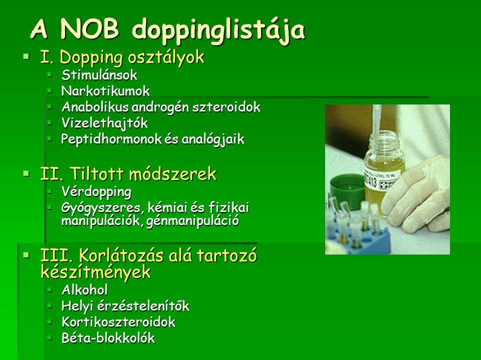 A NOB doppinglistája I. Dopping osztályok II. Tiltott módszerek