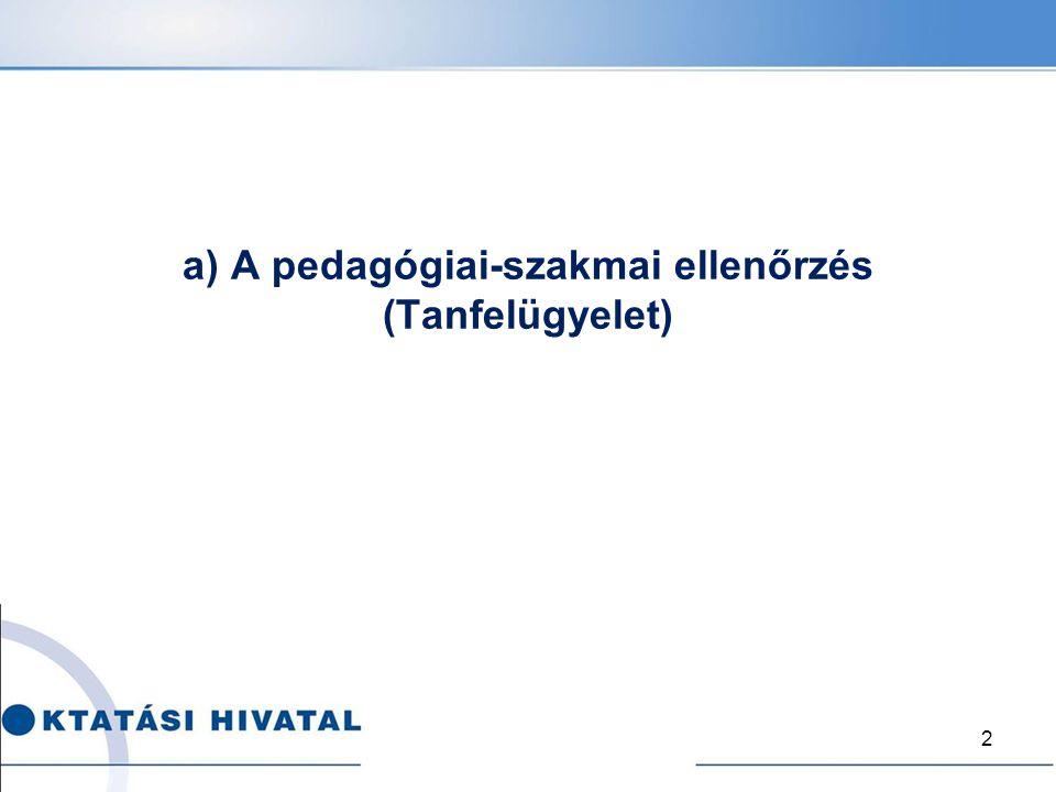 a) A pedagógiai-szakmai ellenőrzés (Tanfelügyelet)