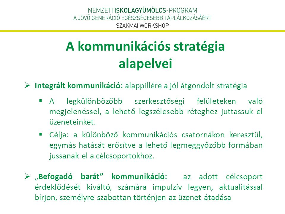 A kommunikációs stratégia alapelvei