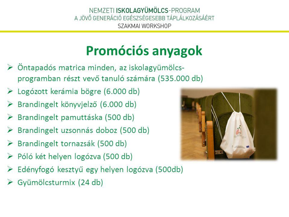 Promóciós anyagok Öntapadós matrica minden, az iskolagyümölcs- programban részt vevő tanuló számára (535.000 db)