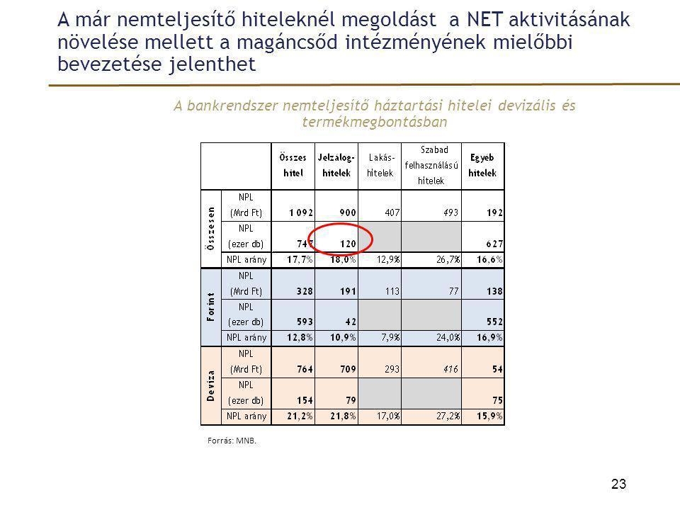 A már nemteljesítő hiteleknél megoldást a NET aktivitásának növelése mellett a magáncsőd intézményének mielőbbi bevezetése jelenthet