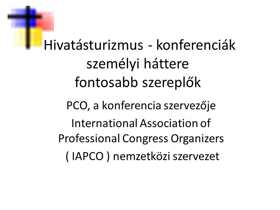 Hivatásturizmus - konferenciák személyi háttere fontosabb szereplők