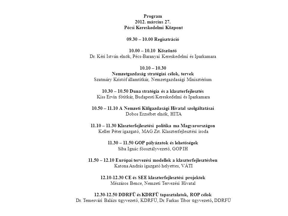 Program 2012. március 27. Pécsi Kereskedelmi Központ 09. 30 – 10