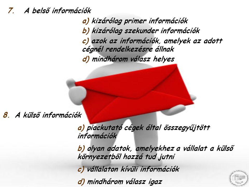 A belső információk a) kizárólag primer információk. b) kizárólag szekunder információk.
