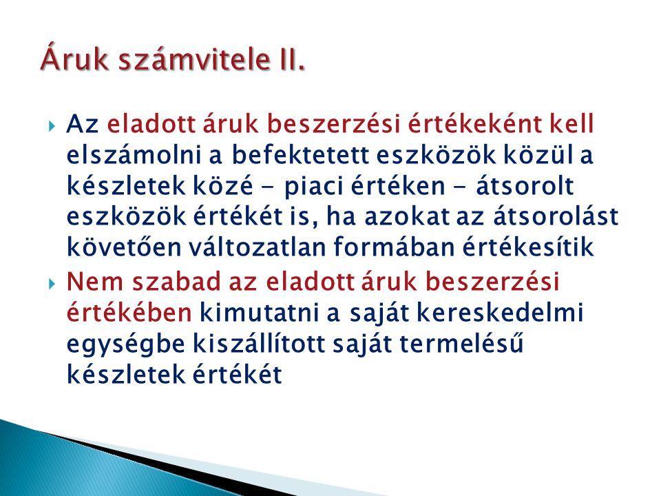Áruk számvitele II.
