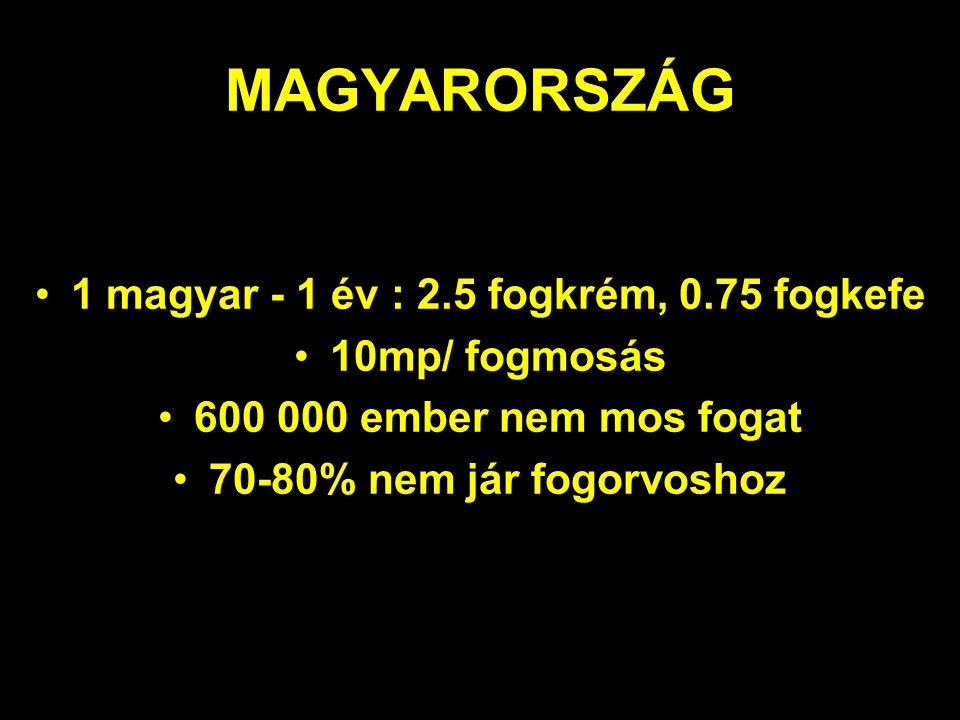 1 magyar - 1 év : 2.5 fogkrém, 0.75 fogkefe