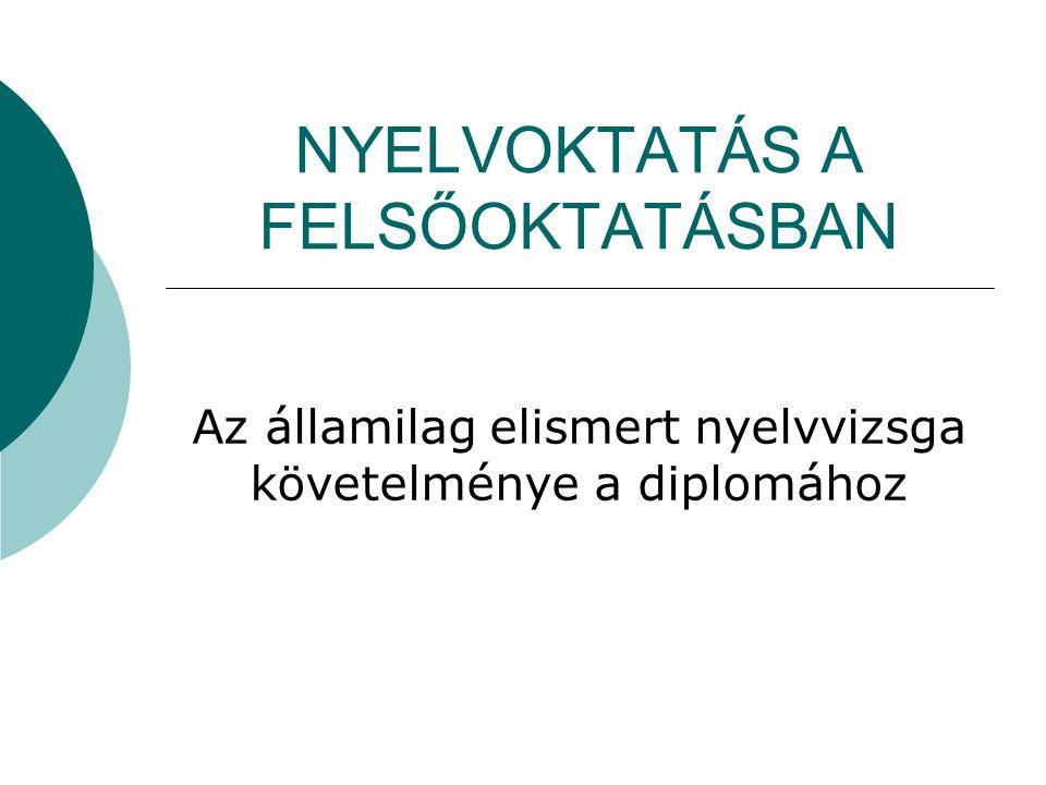 NYELVOKTATÁS A FELSŐOKTATÁSBAN