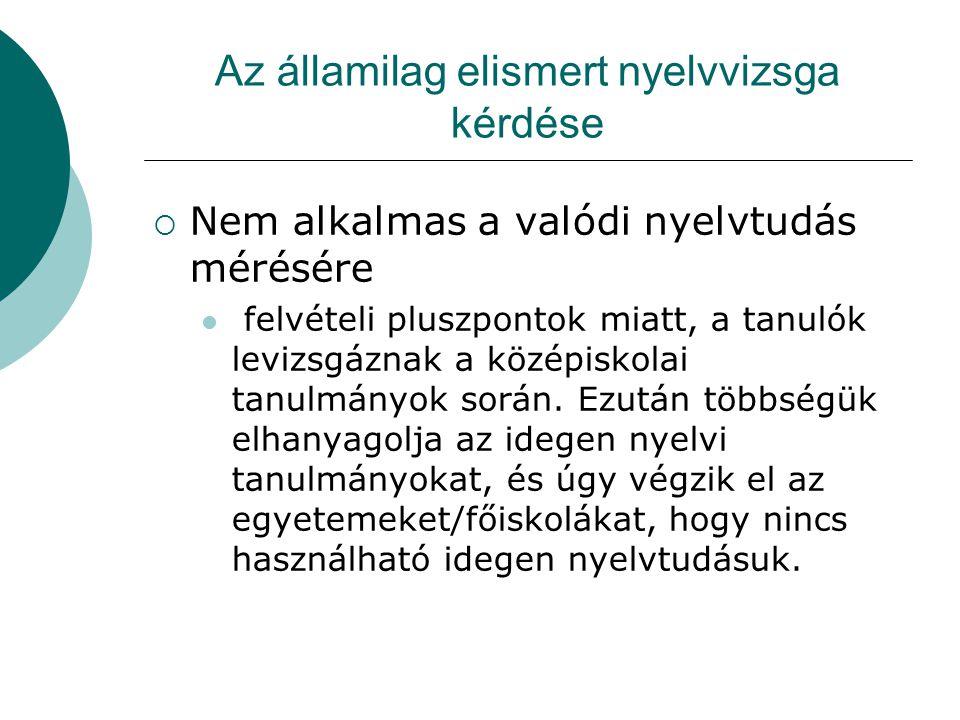Az államilag elismert nyelvvizsga kérdése