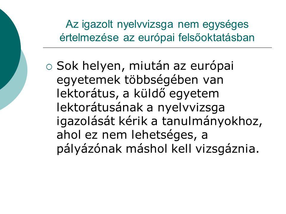 Az igazolt nyelvvizsga nem egységes értelmezése az európai felsőoktatásban