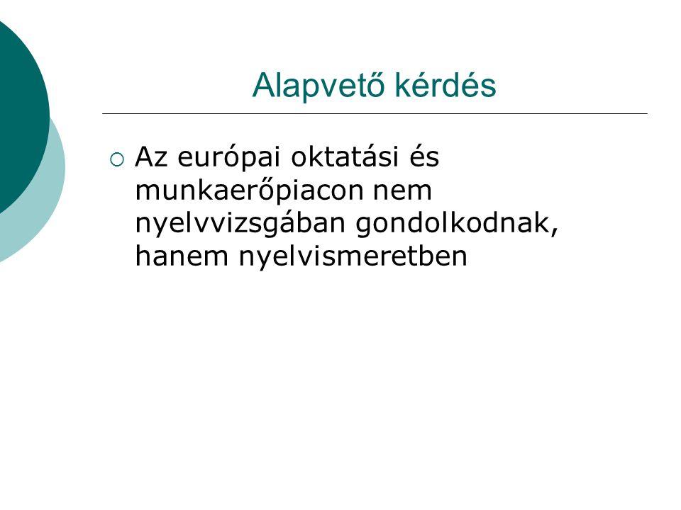 Alapvető kérdés Az európai oktatási és munkaerőpiacon nem nyelvvizsgában gondolkodnak, hanem nyelvismeretben.