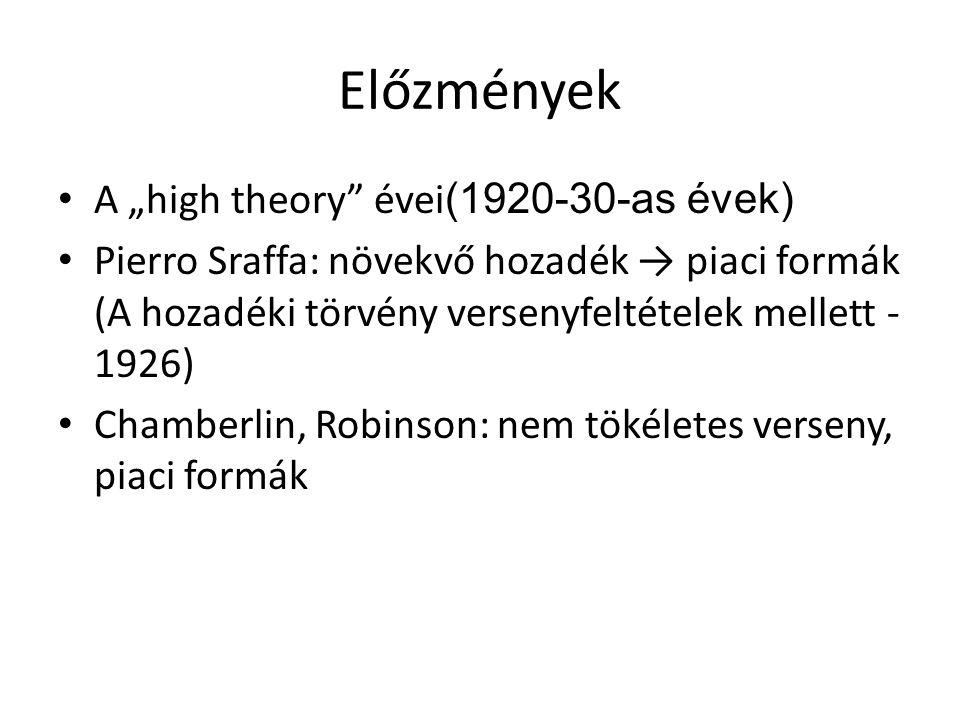 """Előzmények A """"high theory évei(1920-30-as évek)"""
