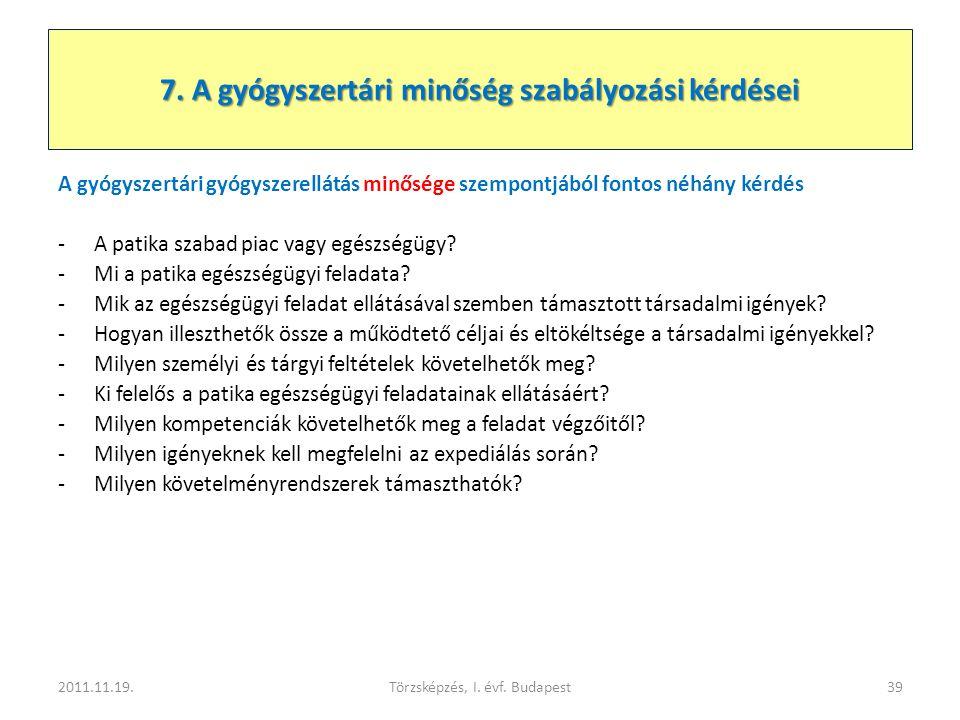 7. A gyógyszertári minőség szabályozási kérdései