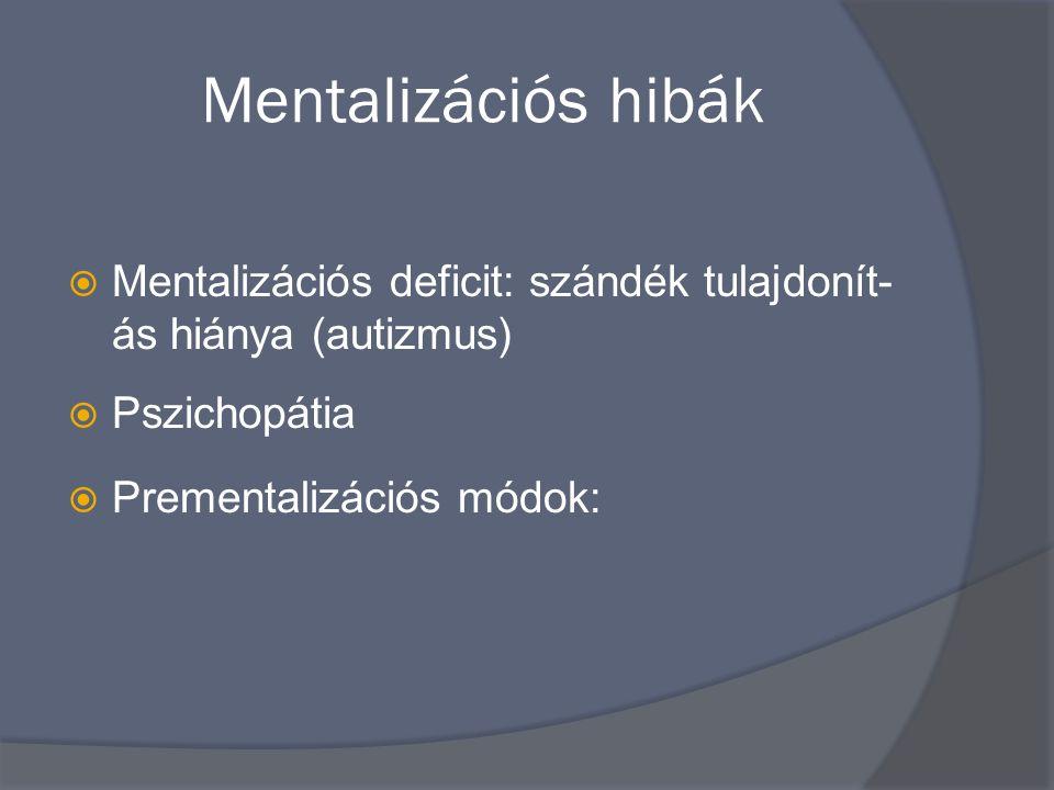 Mentalizációs hibák Mentalizációs deficit: szándék tulajdonít- ás hiánya (autizmus) Pszichopátia.