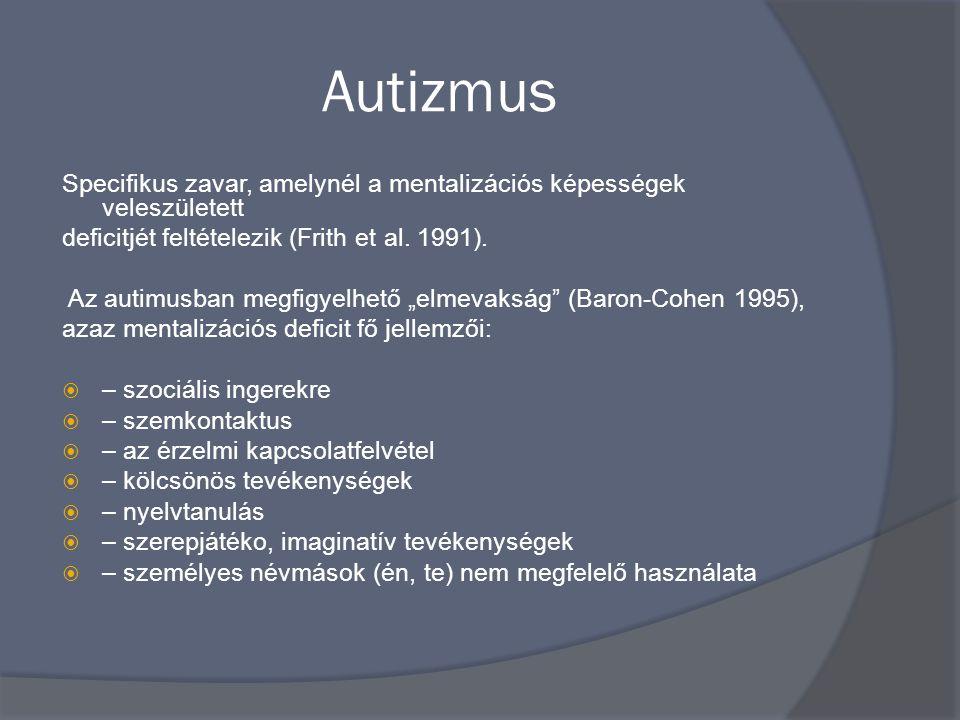 Autizmus Specifikus zavar, amelynél a mentalizációs képességek veleszületett. deficitjét feltételezik (Frith et al. 1991).