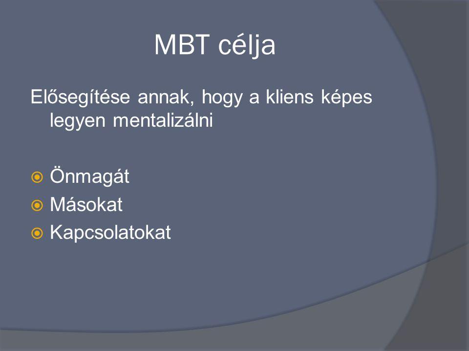 MBT célja Elősegítése annak, hogy a kliens képes legyen mentalizálni
