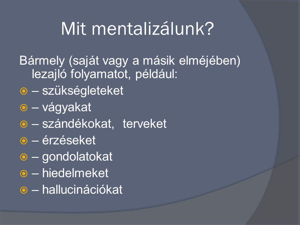 Mit mentalizálunk Bármely (saját vagy a másik elméjében) lezajló folyamatot, például: – szükségleteket.