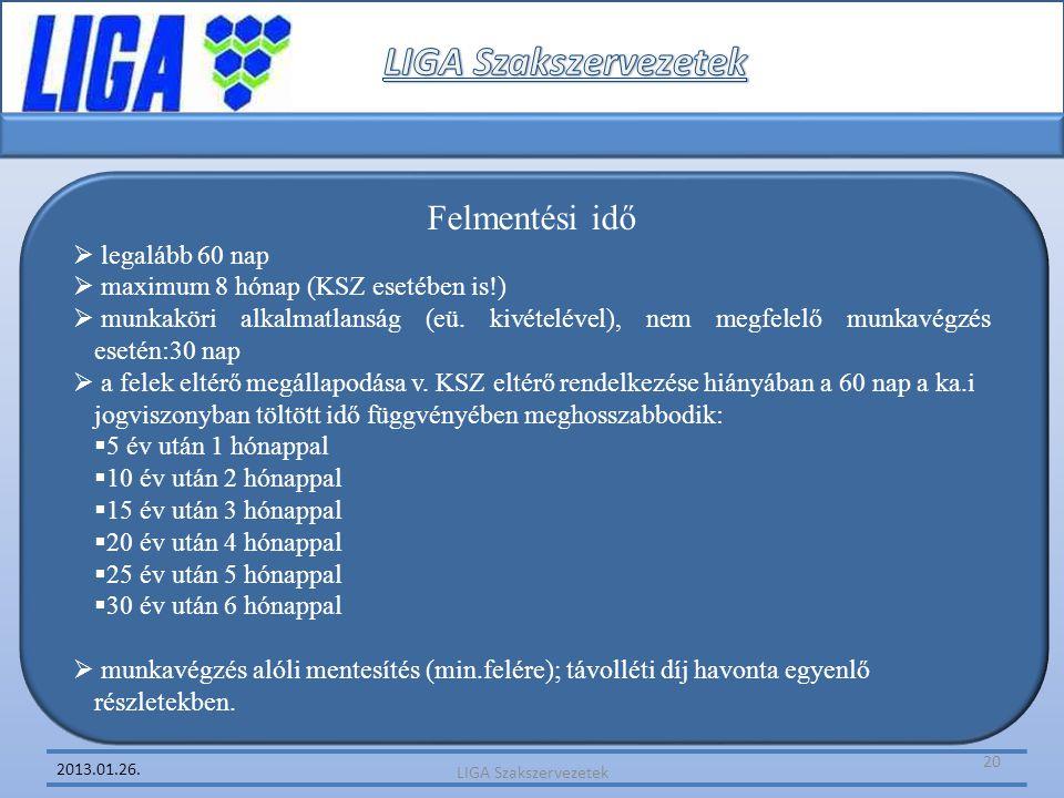 LIGA Szakszervezetek Felmentési idő legalább 60 nap