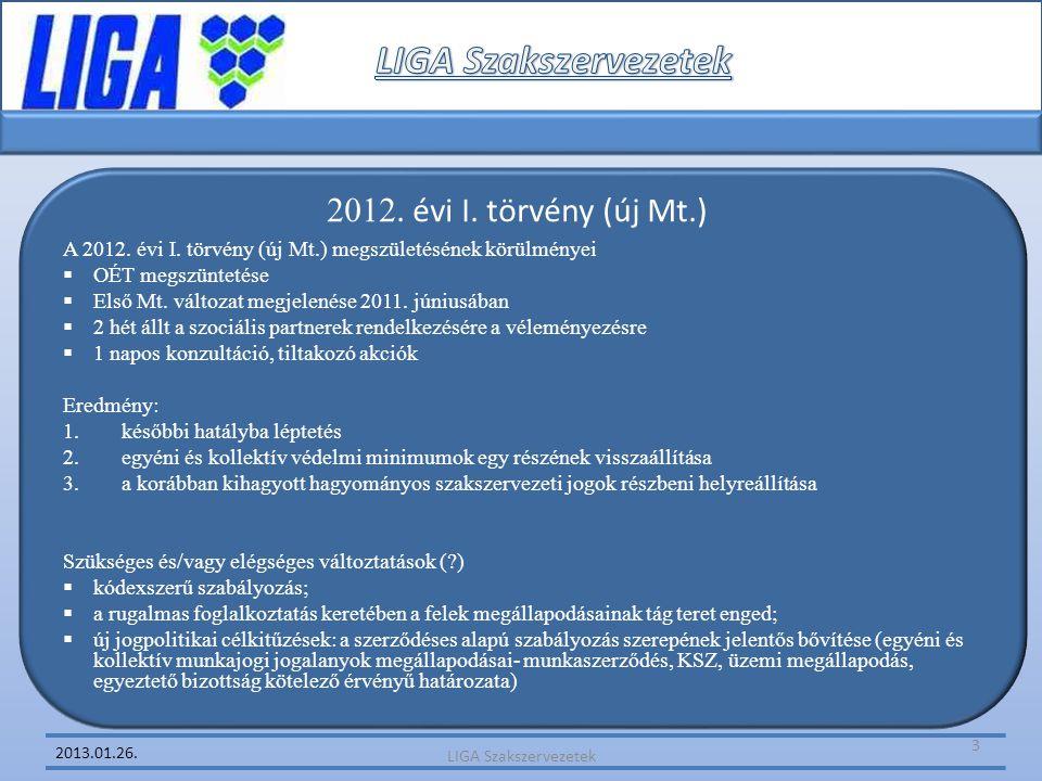 LIGA Szakszervezetek 2012. évi I. törvény (új Mt.)