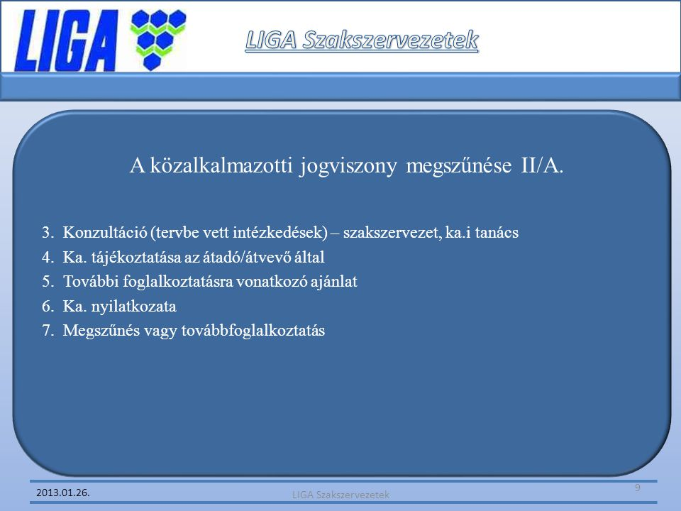 A közalkalmazotti jogviszony megszűnése II/A.