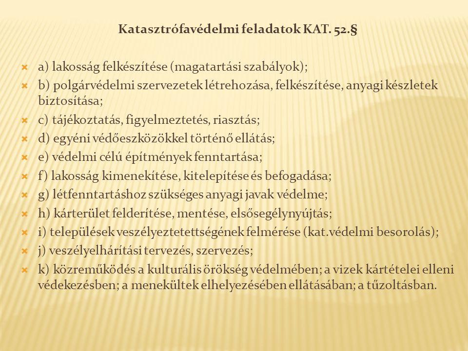 Katasztrófavédelmi feladatok KAT. 52.§