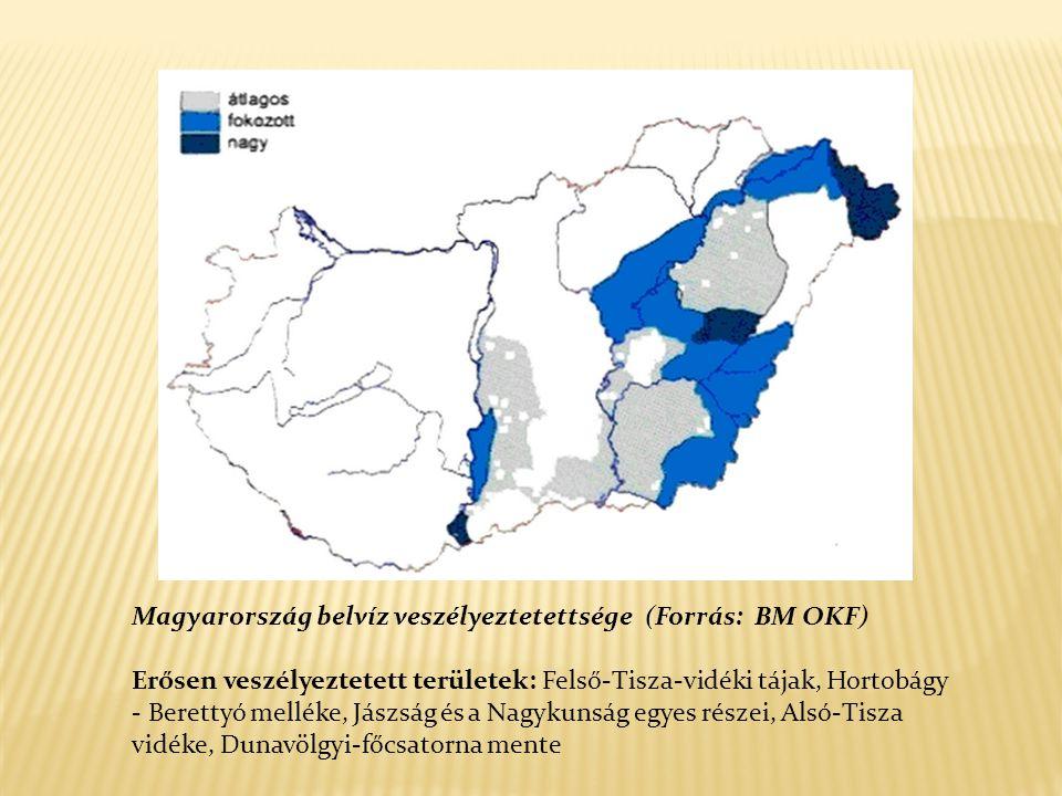 Magyarország belvíz veszélyeztetettsége (Forrás: BM OKF)