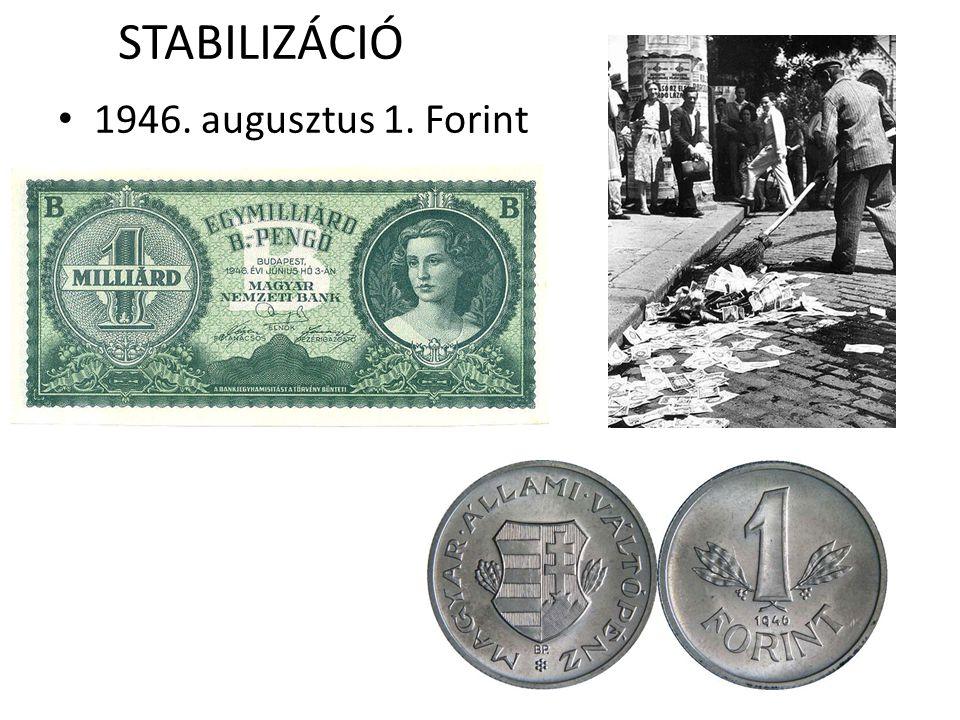 STABILIZÁCIÓ 1946. augusztus 1. Forint