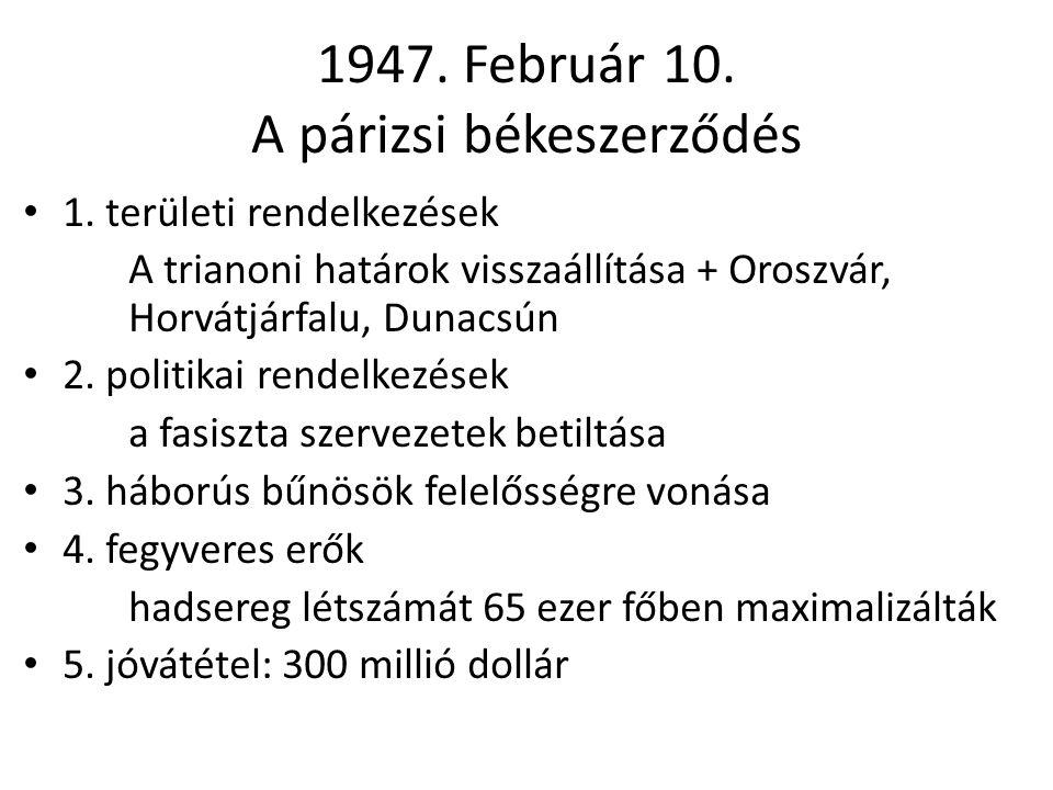 1947. Február 10. A párizsi békeszerződés