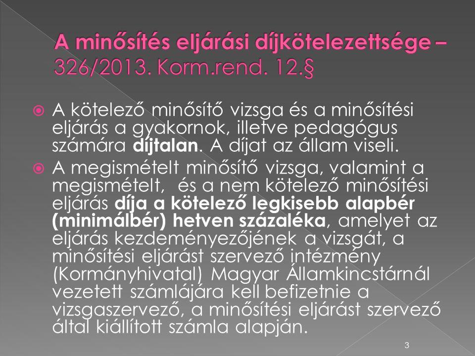 A minősítés eljárási díjkötelezettsége – 326/2013. Korm.rend. 12.§