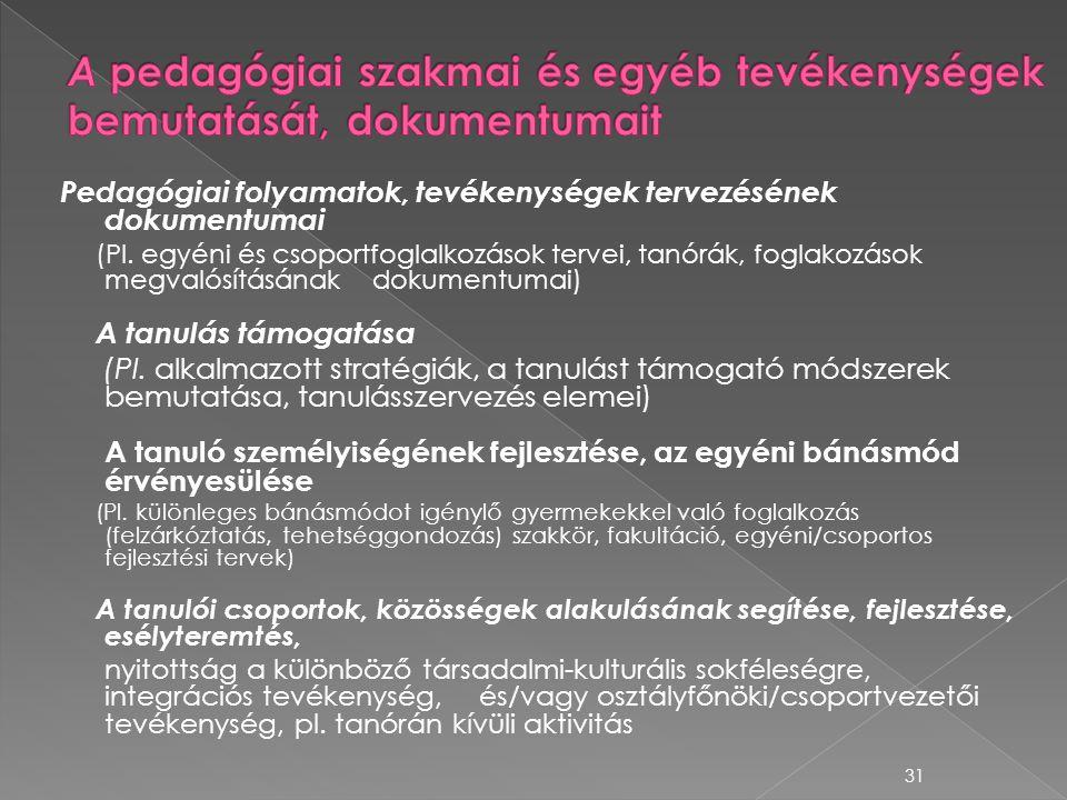 A pedagógiai szakmai és egyéb tevékenységek bemutatását, dokumentumait