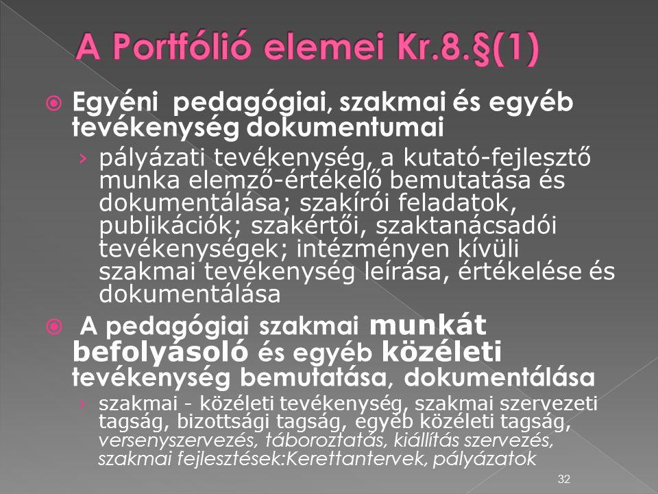 A Portfólió elemei Kr.8.§(1)