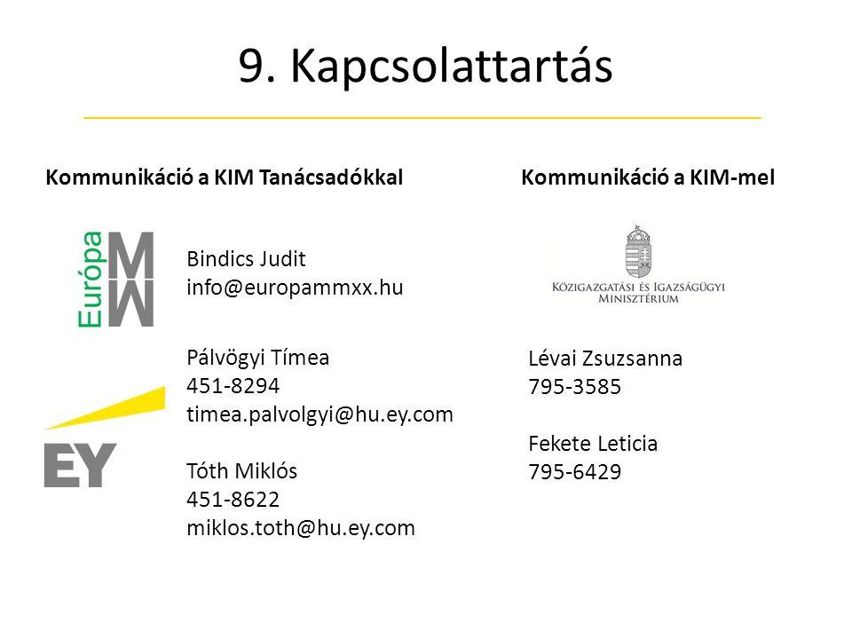 9. Kapcsolattartás Kommunikáció a KIM Tanácsadókkal